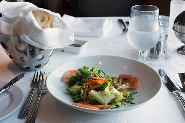 Side salad in the Cosmopolitan Restaurant on Celebrity Summit