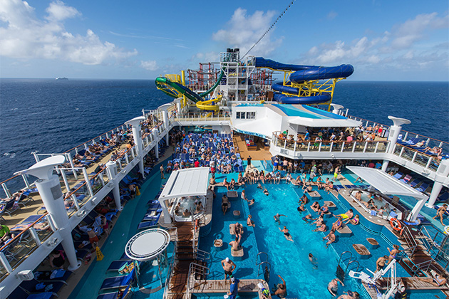 Aerial view of the crowded pool deck on Norwegian Escape