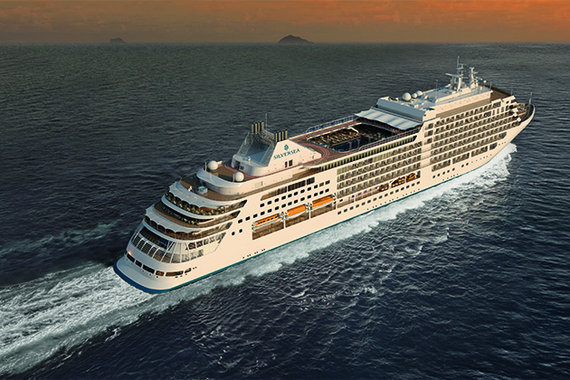 Aerial shot of Silver Muse at sea during sunset