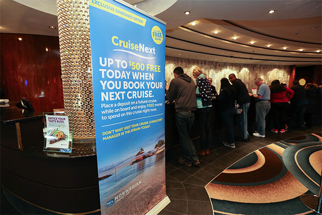 CruiseNext promo on Norwegian Gem (Photo: Cruise Critic)