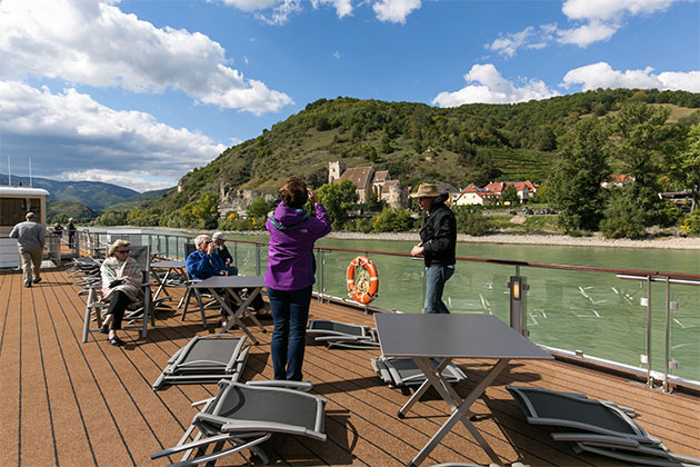 Vacationers on a Viking Gullveig cruise
