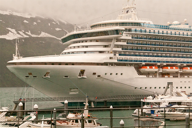 Cruise ship docked in Whittier, Alaska
