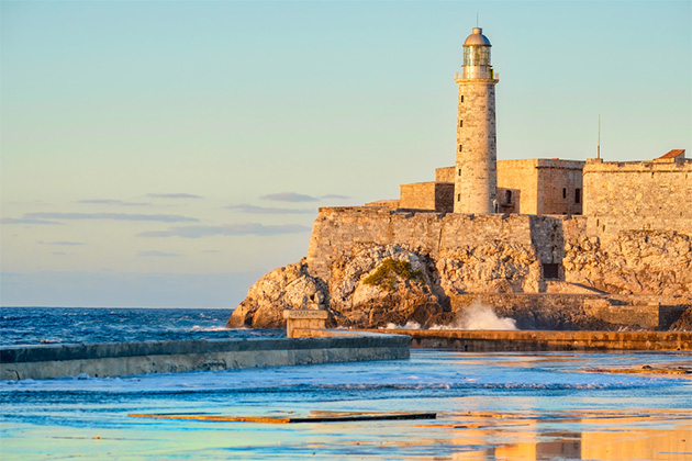 El morro fortress and lighthouse at sunset in Havana