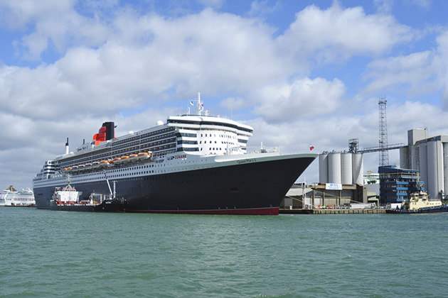 Queen Mary 2 docked at Southampton