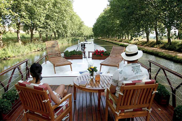 Relaxing on a barge canal cruise