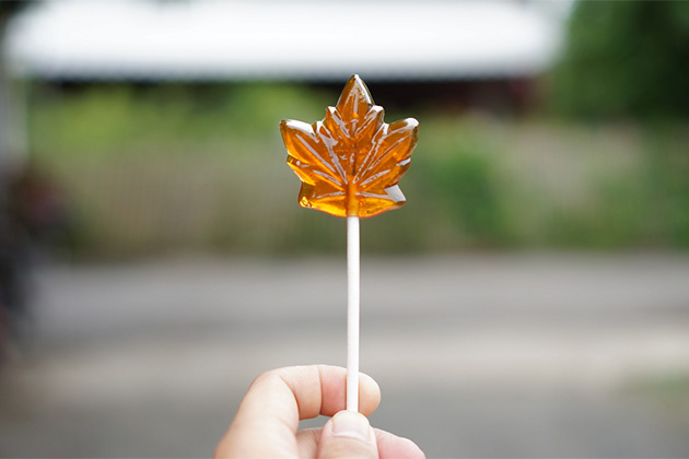 Maple syrup candy on stick