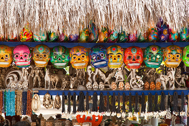 Various souvenir items at a straw market in Cozumel