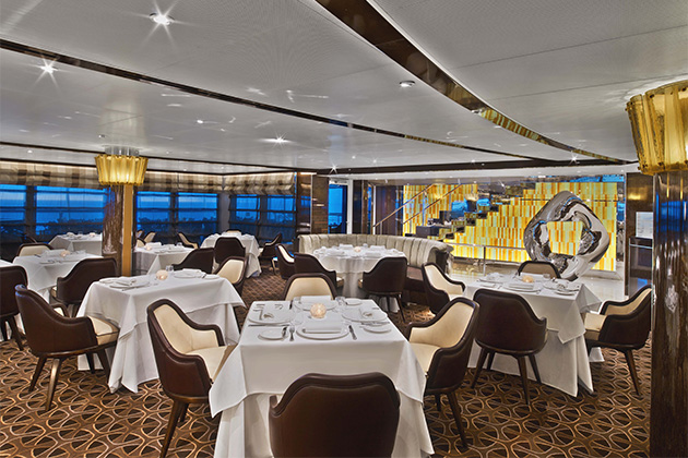 The Grill seating area on Seabourn Encore