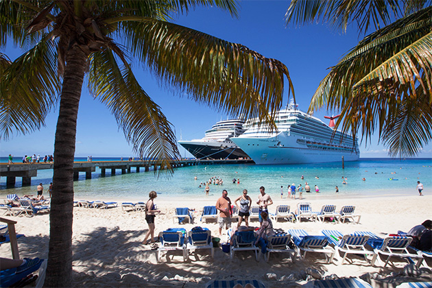 Two cruise ships docked in Grand Turk