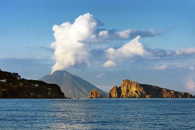 Stromboli volcano from sea