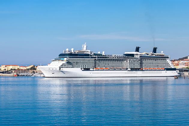 White luxury cruise ship moored in Ajaccio port, Corsica island, France