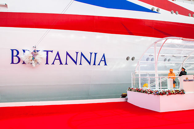 The 2015 christening of P&O's Britannia by Queen Elizabeth II.