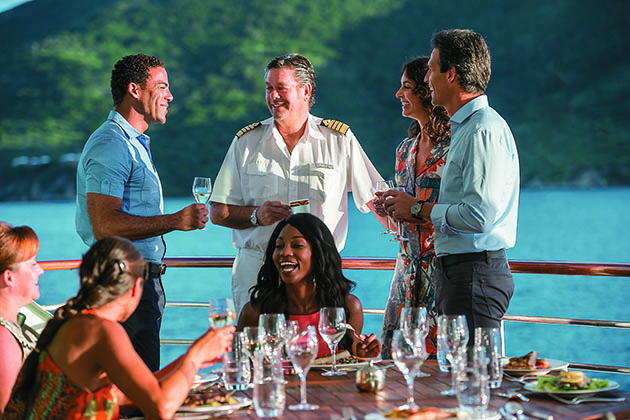 Dining with the captain on a Paul Gauguin cruise
