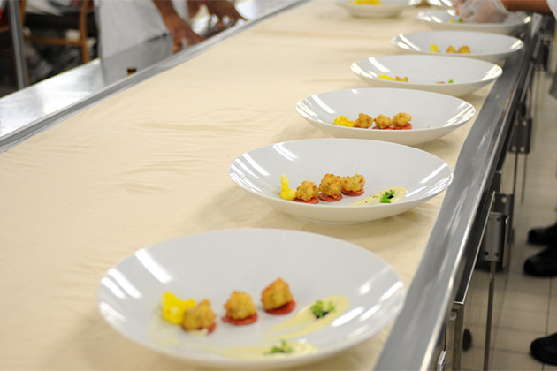 Plates lined up for Chef's Table