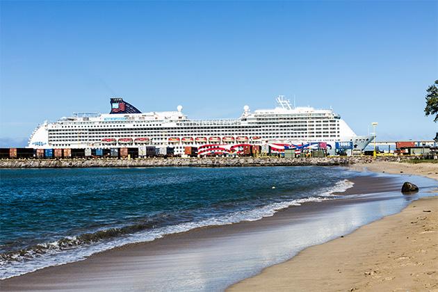 Exterior shot of Pride of America in Hawaiian port