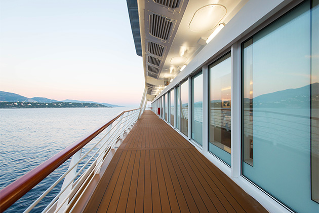 The Promenade Deck on Viking Star at sunset