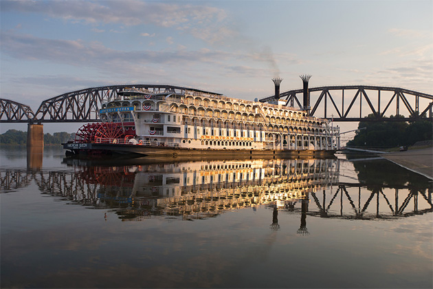 American Queen on the Mississippi River at sunset