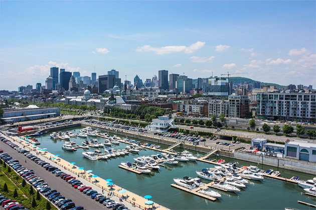 Aerial of old port downtown of montreal canada
