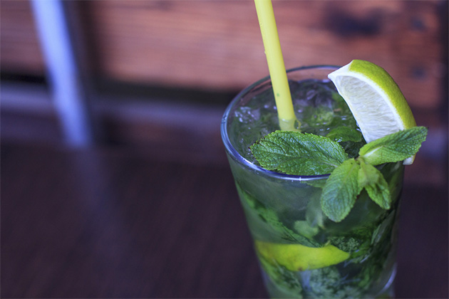 Close-up shot of a mojito