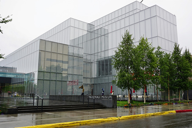 View of the Anchorage Museum from outside, on an overcast day