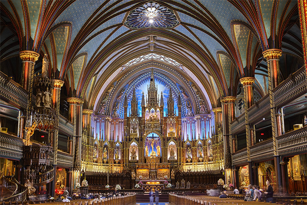 Interior of the Gothic revival Notre Dame basilica in Montreal