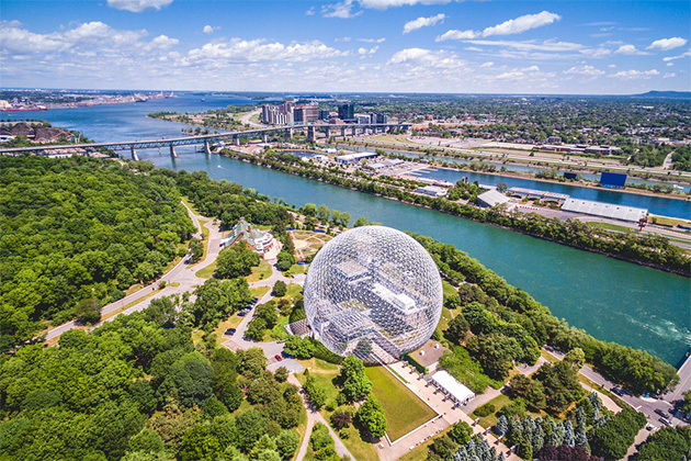 Montreal Biosphere and Jacques Cartier bridge aerial view, Montreal, Quebec, Canada