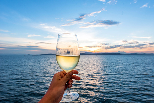 Woman holding glass of wine, with sea and sunset in the background