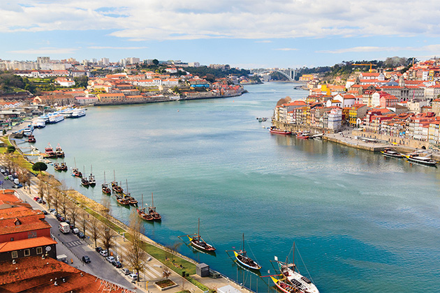 Aerial shot of the Douro River in Portugal