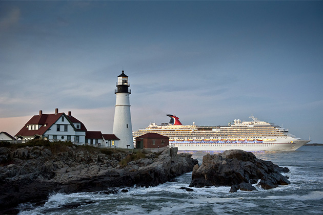 Carnival Splendor cruise ship sails past Portland Head Lighthouse
