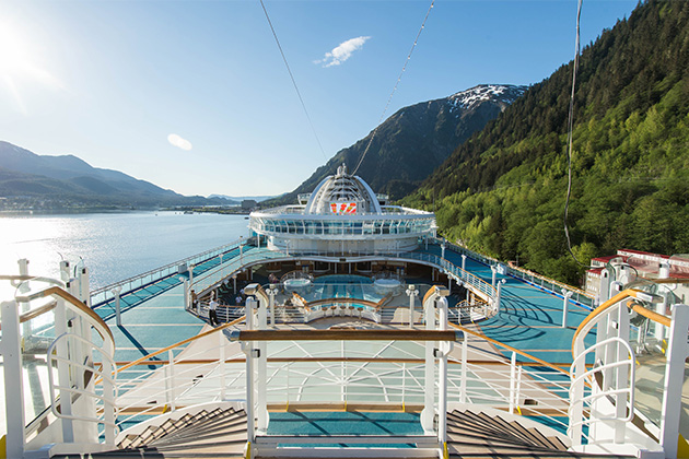 Ruby Princess sun deck, with Alaska scenery in the background