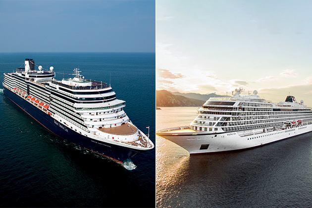 Composite photo of Viking Ocean Cruises ship and Holland America Line ship