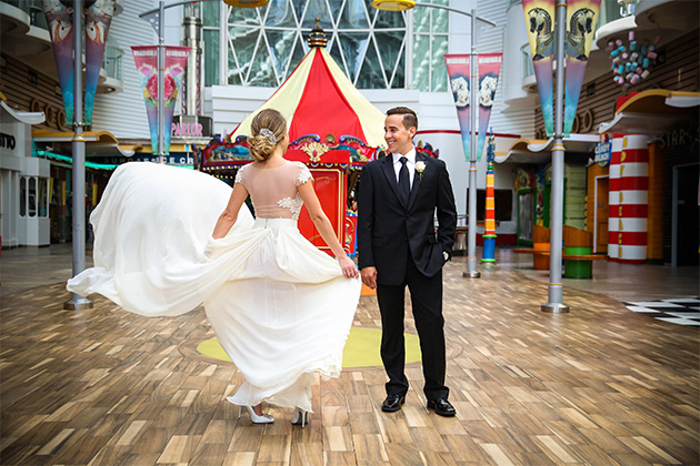 Wedded couple at the Boardwalk on Oasis of the Seas