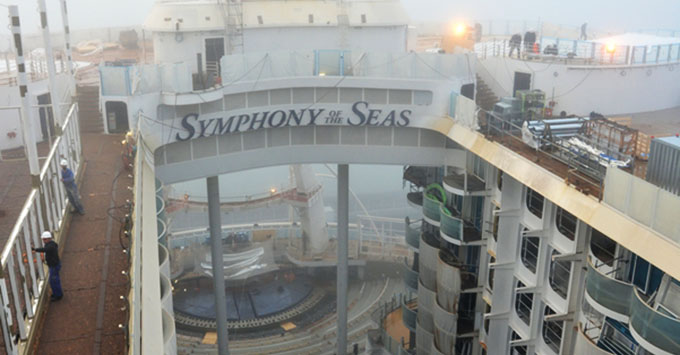 Symphony of the Seas under construction at the STX shipyard in France.
