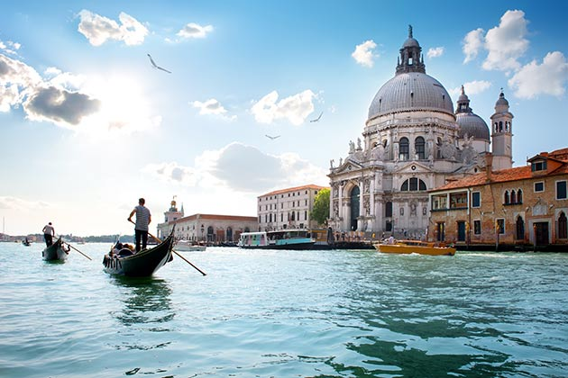 Old cathedral of Santa Maria della Salute in Venice, Italy.