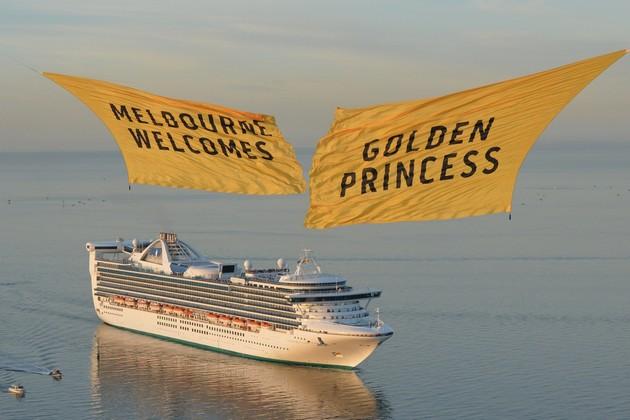 Golden Princess sailing into Melbourne