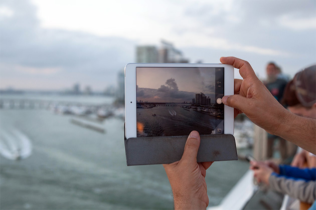 Close-up shot of an iPad on MSC Divina, as the ship is leaving Miami