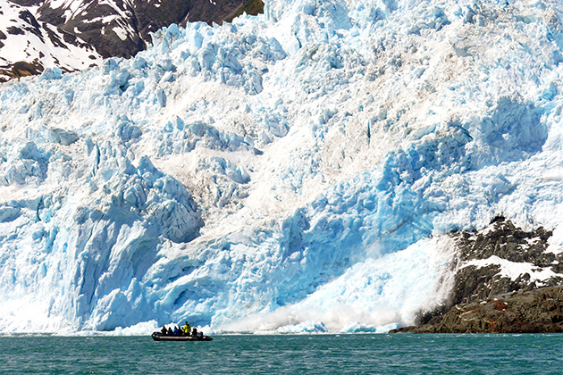 Passengers exploring the Aialik Glacier by Zodiac