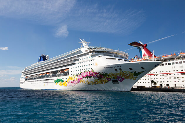 Exterior shot of Norwegian Sky docked in port