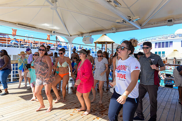 Passengers dancing at Groove for St. Jude on Carnival Ecstasy