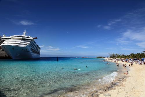 Cruise ship docked at an Australian beach
