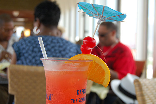 A tropical drink on a Carnival cruise.
