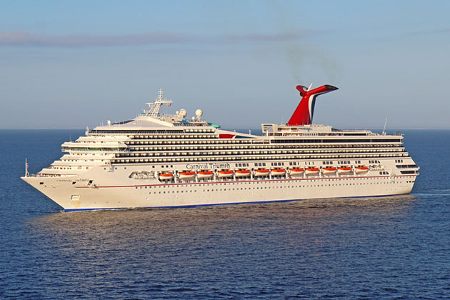 Carnival Triumph cruising near Belize City.