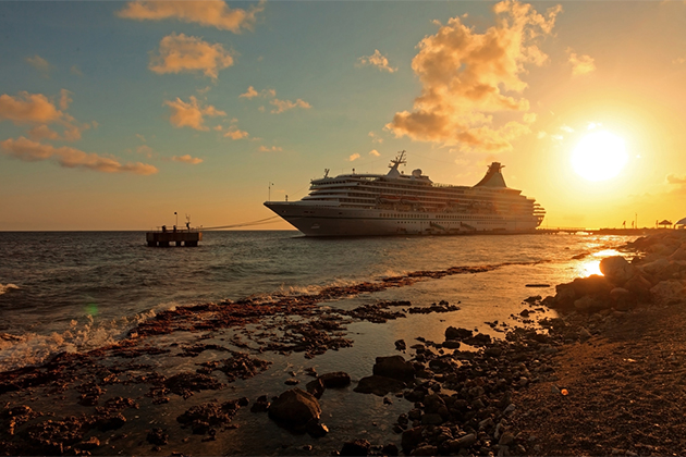 Cruise ship docked in Curacao