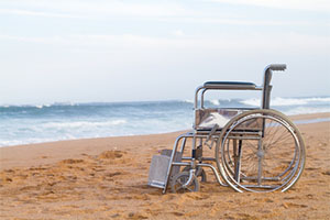 wheelchair on a beach