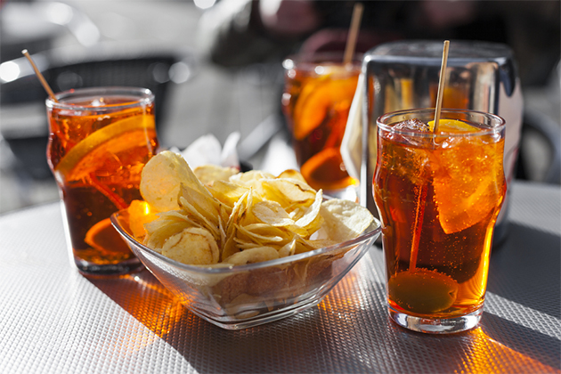 Aperol spritz, a concoction of Campari-like Aperol liqueur and prosecco.
