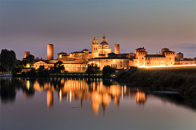 Riverside castle in Mantua, Italy.