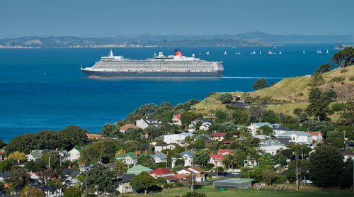 Cruise ship leaving Auckland, New Zealand