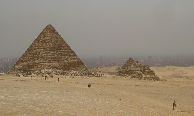 Camels at the Pyramid of Menkaure, on Cairo's Giza Plateau