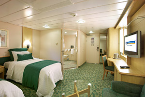 An accessible cruise ship cabin