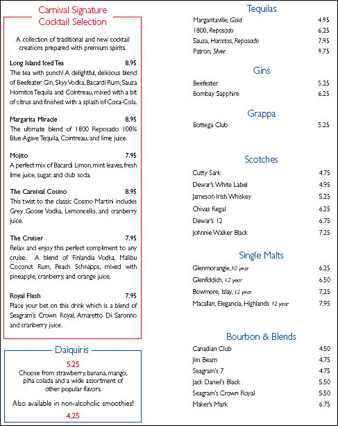 Carnival Cruise Lines Bar Drink Menu Cruise Critic